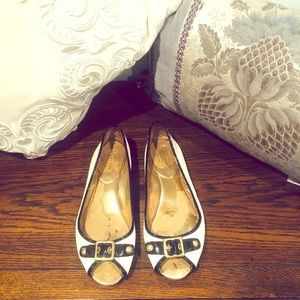 Black and Cream Leana Peep-toe Coach Flats